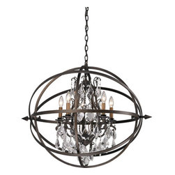 "Troy Lighting - Troy Lighting F2996 Byron 5 Light Globe Chandelier with Crystal Accents - Troy Lighting F2996 Byron 5 Light 27.25"" High Multi Light PendantRibbons of hand-worked wrought iron form a protective globe around the crystal accents of this pendant.Troy Lighting F2996 Features:"