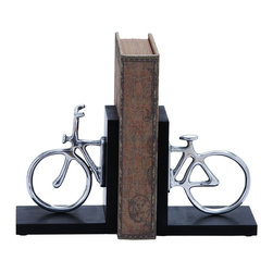 "Benzara - Stylish Aluminum Cycle Bookend with Attention Grabbing Design - Give home interiors a distinctive touch with this classy aluminum cycle bookend. This bookend originates in India and features a simple, attention grabbing design that is perfect for adding a dash of style to home decor. Adding a unique and stylish touch to the overall design is an old worn book that separates the two ends of the cycle. It features a black base that accents the distinctive beauty of this stunning bookend. It is made from top quality material, ensuring this aluminum cycle bookend is long-lasting and durable in use. Ideal for offices and homes, this decorative accessory can be placed on a shelf or table to give rooms a more appealing look. This bookend flaunts a gorgeous appearance particularly when set against a dark background. It comes with a dimension of 7"" H x 6"" W x 4"" D."