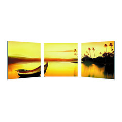 "Baxton Studio - Baxton Studio Golden Sunset Mounted Photography Print Triptych - An ethereal golden light blazes in the sky after yet another idyllic day in paradise. From village to mountains, bay to boat, the single photograph is divided and ready to hang on the wall of your choice as a 3-piece triptych set. Crisp, vivid color is printed on waterproof vinyl canvas sheets and mounted on MDF wood frames. This Chinese-manufactured modern wall art set is fully assembled and requires mounting hardware (not included). To clean, we recommend dry dusting.Dimensions (each): 20"" H x 20"" W x 1"" D"