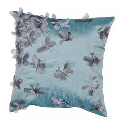 Jaipur - Whisper Blue and Gray 18-Inch Square Pillow - - Soft shades of neutral and dusty pastel are the cornerstone of this whimsical feminine range of pillows made from poly dupione. The collection features imagery of butterflies florals and birds  - Cleaning and Care: Remove the throw pillow's cover if it is removable. Wash the cover separately from the pillow. Pre-treat badly soiled or stained areas on the pillow cover with a color-safe prewash spray. Rub the spray into the stain with a damp sponge. Wash the pillow cover or the whole pillow on a gentle-wash cycle in warm water with a very mild detergent. Detergent for delicate fabrics or baby clothes is usually suitable. Remove the pillow or pillow cover as soon as the washing machine has ended the cycle and has shut off. Hang the pillow or cover up to dry in a well-ventilated area. If the care label specifies that the item is dryer-safe place the pillow or pillow cover in the dryer and tumble dry on low heat. Fluff the pillow once it is dry in order to maintain its form. Don't use the pillow until it is completely dry. Damp pillows will attract dirt more easily  - Construction: Handmade  - It is Sustainable Jaipur - PLC100111