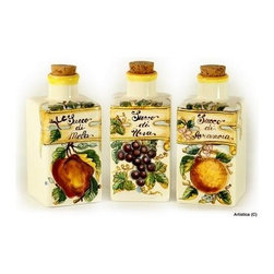 Artistica - Hand Made in Italy - Toscana: Square Juices Bottles ''Succo Di Uva'', ''Succo Di Mele'' - Toscana Collection: