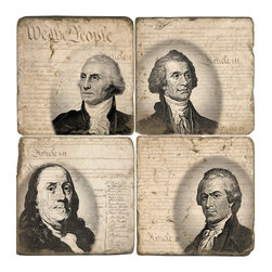 """Studio Vertu - Constitution Coasters (Set of 4) - Toast to the USA! Celebrate America's founding fathers with these handmade coasters featuring the Constitution's memorable opening phrase """"We the People"""". The coasters have images of several of the US' founding fathers: George Washington, Thomas Jefferson, Benjamin Franklin, and James Monroe. The coasters are handmade in a Cincinnati studio using tumbled Italian botticino marble with cork backing. Please note that due to the natural marble, any imperfections are inherent to the design and add to the natural beauty of these coasters.   About the Artist: Studio Vertu's success story began in 1995, when owner Mark Schmidt developed the concept of Lightweight Fresco Tile. Schmidt saw the product as an alternative to permanently mounted marble tiles or hand-painted mural. His insight led to Studio Vertu being awarded an installation at The National Football League Headquarters in New York City. In addition to developing large-scale installations, Schmidt wanted to bring the idea of original artwork on marble tile to homes, allowing more people to enjoy the pieces. In the spring of 1995, Studio Vertu introduced 10 sets of Italian Marble Coasters, each consisting of four different images, and a business was born. Studio Vertu continues to hand make their marble artwork in their Cincinnati-based studio. Studio Vertu installation at NFL Headquarters in NYC   Product Details: Imagery is of US Founding Fathers George Washington, Thomas Jefferson, Benjamin Franklin, and James Monroe"""