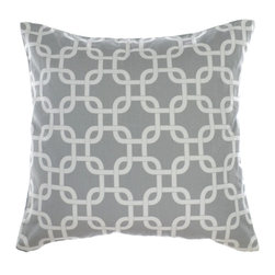 "La Mode Couture - Catena Silver Pillow 20"" x 20"" Includes Feather/Down Insert - Modernistic sequence of chains linked together. Brilliant soft repetitions"
