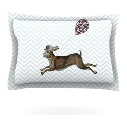 """Kess InHouse - Suzanne Carter """"Hare Today"""" Rabbit Pillow Sham (Cotton, 30"""" x 20"""") - Pairing your already chic duvet cover with playful pillow shams is the perfect way to tie your bedroom together. There are endless possibilities to feed your artistic palette with these imaginative pillow shams. It will looks so elegant you won't want ruin the masterpiece you have created when you go to bed. Not only are these pillow shams nice to look at they are also made from a high quality cotton blend. They are so soft that they will elevate your sleep up to level that is beyond Cloud 9. We always print our goods with the highest quality printing process in order to maintain the integrity of the art that you are adeptly displaying. This means that you won't have to worry about your art fading or your sham loosing it's freshness."""