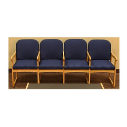 Wooden Mallet - Sled Base Oak Frame Padded Quad Chair (Blue A - Fabric: Blue ArchGive your lobby or reception area a comfortable makeover with this padded quad chair, featuring a durable oak sled base. The unit has padded seats and arched backs for added comfort, and is available in your choice of fabric options. Coordinating pieces are available separately. Pictured in Blue Arch fabric. Full length, fully upholstered, arched back lends style and comfort. Built with a 1 in. thick solid Oak frame. Extra thick seat and back cushions for comfort and durability. Made in the USA. Assembly is a breeze with our unique slide brackets, no tools required. Complies with California TB 117 fire code. 1-Year limited warranty. Seat: 16.5 in. D x 19.5 in. W x 14.5 in. H. Weight capacity: 400 lbs. per seat. Total height: 19 in.Wooden Mallet's Dakota Wave Prairie series with its full length, fully upholstered back offers graceful styling for sophisticated good looks. This chair is constructed of solid Oak with a state-of-the-art finish for beauty and durability. Choose from dozens of stain and fabric combinations to customize this chair for any décor or contact us to learn about supplying your own fabric for a personalized look. Choose this chair as part of our complete Dakota Wave collection of coordinating lobby essentials.