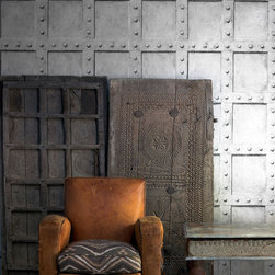 Industrial Wallpaper - A wrought iron panel wallpaper design inspired by the famous British structural engineer Isambard Brunel. Produced in Britain by Andrew Martin Home.