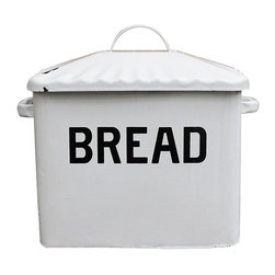 Contemporary Enameled Metal Bread Box - Keep your bread fresh with this vintage-inspired bread box. Not only will the enameled metal keep your bread safe from an unpredictable world full of heavy objects, it will remind you of the good old days of your great grandmother.