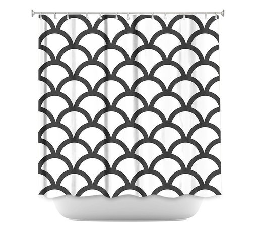 DiaNoche Designs - Shower Curtain Artistic - White Scallop Pattern - DiaNoche Designs works with artists from around the world to bring unique, artistic products to decorate all aspects of your home.  Our designer Shower Curtains will be the talk of every guest to visit your bathroom!  Our Shower Curtains have Sewn reinforced holes for curtain rings, Shower Curtain Rings Not Included.  Dye Sublimation printing adheres the ink to the material for long life and durability. Machine Wash upon arrival for maximum softness. Made in USA.  Shower Curtain Rings Not Included.
