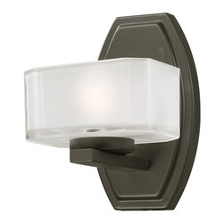 Z-Lite - Z-Lite 3009-1V Painted Bronze Cabro 1 Light Bathroom Sconce with Glass Shade - Z-Lite 300 Cabro Bathroom Light Cabro Bathroom LightThis single vanity light has an eye-catching contemporary design with its square cube glass, frosted