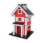 """Home Bazaar Inc. - Glen Ridge Feeder - Red/White/Black - This tall feeder has two stories plus an attic and Features: screened, double front doors; twin-pillored entry overhang; a stone chimney with chimney cap; matching birdhouse decoration; black, pine shingled roof; lift-out, magnetic roof opening; white, storm shutters; a wood pile; and a pyramid-shaped center piece in the middle of the floor to spread seed to all four sides. Comes with a mounting plate that allows easy placement on a wooden 4"""" X 4"""" and an ingenious steel cable to hang the feeder."""