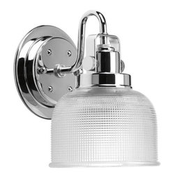 "Progress Lighting - Progress Lighting P2989-15 Archie 1 Light Bathroom Lighting in Polished Chrome P - Archie is a standout in any room and provides a fun and fashionable way to light your home. The authentic, prismatic style glass shade diffuses light to provide functional and stylish illumination. This fixture can be installed with the glass facing up or down to suit your preference.Clear double prismatic glass shade Finely crafted strap and knob details Steel construction Back plate covers a standard 4"" hexagonal recessed outlet box Mounting strap for outlet box included Medium base ceramic socket(s) Pre-wired UL-CUL Damp location listedBulb Base: Medium Bulb Type: Incandescent Collection: Archie Extension: 7 Finish: Polished Chrome Height: 6-1 4 Max. Wattage: 100 Number of Lights: 1 Style: Traditional Classic UL Listed: Yes UL Rating: Damp Location Weight: 4 Width: 13-7 8"