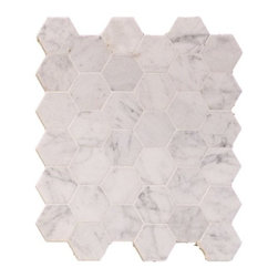"Daltile - Honed Carrara Marble Hexagon Mosaic - Carrara Marble with 2""x2"" tiles are mounted on 12x12"" sturdy mesh tile sheet with white grout with 36 stones on each sheet. Quantity includes one 12x12"" tile. Shipping is per order."