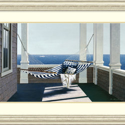 Amanti Art - Zhen-Huan Lu 'Striped Hammock' Framed Art Print 42 x 29-inch - Lose yourself in this peaceful coastal scene by Zhen-Huan Lu.  Picture yourself having a lie down in this Striped Hammock, feeling the cool, refreshing coastal breeze and listening to the waves break in the distance.