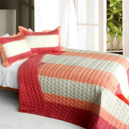 Blancho Bedding - [Ruby Ring] 3PC Patchwork Quilt Set (Full/Queen Size) - Features intricate hand-stitching patterns with timeless appeal. Creates a cozy and inviting atmosphere and is sure to transform the look of your bedroom. Gives the finishing touch to your room decor; Enjoy a good night's sleep in a luxurious quilt set. Pre-washed, pre-shrunk, reversible and vermicelli-quilted for elegance and durability. Soft materials and high tenacity; Concentrated stitches; Machine washable and dryable.