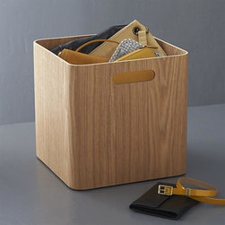 Large Ashwood Bin - Richly grained ash veneer is crafted in soft modern storage solutions with rounded corners and convenient cutout handles. Lightweight yet sturdy bins organize and tote a variety of household and office items with a honey-hued, natural appeal.