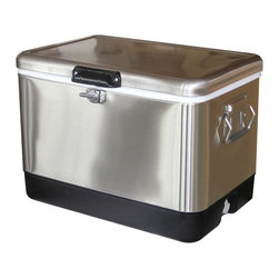 None - Stainless Steel Cooler - Utilitarian doesn't have to be boring. As basic as the little black dress,this stainless steel cooler goes with everything. From car camping to tail-gaiting to simple backyard barbeques,your ability to pair style and functionality will impress.