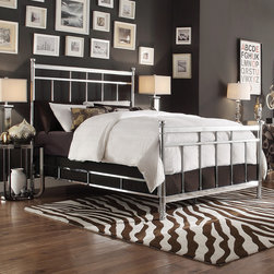 Inspire Q - INSPIRE Q Bella King-size Contemporary Silver Chrome Bed - Enhance the contemporary look of your bedroom with the Bella bed. With a modern twist to a elegant design,this will be the centerpiece of your bedroom. Bed is constructed with high quality chrome for durability.
