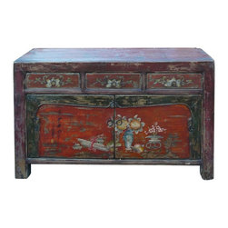 Golden Lotus - Mongolian Antique Flower Vase Buffet Table TV Stand Cabinet - This is a Mongolian antique buffet cabinet which is made of solid elm wood.  The front door of cabinet has flower and vase painting on it.  It can be also used as TV stand cabinet.