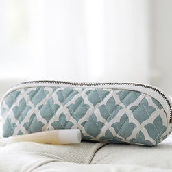 """Marlo Brush Case, Fresca Blue - With a long, slim shape that tucks easily into suitcases, our quilted cotton brush case is perfect for travel. 8.5"""" long x 2.5"""" wide x 2.75"""" high Exterior is made of 100% quilted cotton. Interior is lined with Campbell Print cotton and coated with leakproof polyurethane. Zipper closure. Imported. Monogramming is available at an additional charge. Monogram is 2"""" and will be centered on one side of the case."""