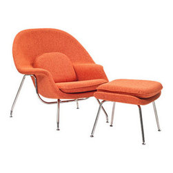 """LexMod - W Lounge Chair in Orange Tweed - W Lounge Chair in Orange Tweed - Concerted efforts run deep in the expansively designed Womb Chair. First intended as a chair you can curl up in,  it has since become a symbol for organic living. The natural motif portrays growth amidst silent resolve. Perhaps this is what makes the Womb both a reception and a lounge chair. Each of us would like to find our place as it were. Whether this means feeling welcomed in by the reception halls of businesses, or feeling welcome to relax into our own homes. While mid-century modernism showed us how to embark into the age of discovery, this finely upholstered classic taught us how to contemplate upon it. The shell of the Womb chair is made of molded fiberglass with foam padding. The legs are stainless steel and come with foot caps to prevent scratching on floors. Set Includes: One - Matching Ottoman One - W Lounge Chair Reinforced Fiberglass Shell, Includes wool with foam core, Stainless Steel Frame Chair Dimensions: 38""""L x 38.5""""W x 35""""H Ottoman Dimensions: 22""""L x 25""""W x 18""""H Seat Height: 16.5 - 17""""H Armrest Height: 22""""H - Mid Century Modern Furniture."""