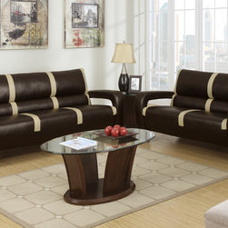 Modern Espresso Saddle Leather Sofa Couch Loveseat Living Room Poundex - A state-of the-art design is presented with this 2-piece sofa set upholstered in bonded leather and simple stripe accents. This ultra modern piece also includes L-shaped side arms trimmed in a dark brown finish with shiny silver rounded leg supports making it the quint essential piece for anyone looking to add a futuristic vibe to their home living space.