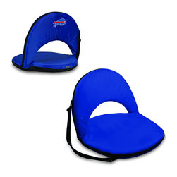 Picnic Time - Buffalo Bills Oniva Seat Recreational Reclining Seat in Navy - When you need a recreational reclining seat that's lightweight and portable, the Oniva Seat is for you. It has an adjustable shoulder strap and six adjustable positions for reclining. The seat cover is made of polyester, the frame is steel, and the seat is cushioned with high-density PU foam, which provides hours of comfortable sitting. The bottom of the seat is black so as not to soil easily. The Oniva Seat is great for the beach, the park, gaming and boating.; Decoration: Digital Print