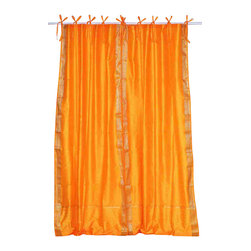 Indian Selections - Pair of Pumpkin Tie Top Sheer Sari Curtains, 43 X 84 In. - Size of each curtain: 43 Inches wide X 84 Inches drop