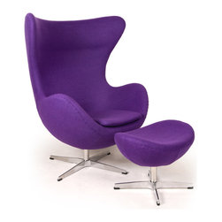 "Kardiel Egg Chair & Ottoman, Purple Boucle Cashmere Wool - This premium Egg chair reproduction and the matching ottoman are a sculptural masterpiece.The original design was created by Arne Jacobsen in 1958, and versions of it sell today for upwards of $5,000. You can have this beautiful reproduction in your home at a fraction and the best part is no one will know the difference. Its creation is taken from respect of the dimensions, the angles, the pitch and curve wrap of the original mid century classic design. Arne Jacobsen's attention to these details is what made the original Egg Chair an iconic classic. Kardiel's Mid Century Classic Egg Chair Style Premium Reproduction Features: High density CA 117 foam. Boucl_ Fabric in a Premium Cashmere Wool Blend; 35% Cashmere _ 65% Poly/Dacron. The entire chair and ottoman is Hand Sewn/Stitched. High quality aluminum base in chip and flake resistant Satin Finish. Chair features both Tilt and 360 degree swivel function. Chair Dimensions: height 42.9"" at the highest point x depth 31.5"" x width 34.6"" at"