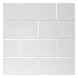 "Ice White - 4.25""x10"" Matte Large Subway Tile, Box of 11.25 Square Feet - Sold by the box - 11.25 Square Feet Per Box"