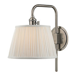 "Hudson Valley - Traditional Hudson Valley Fillmore 14 1/2"" High Nickel Wall Sconce - This lovely and functional aged Historic Nickel finish hardwired wall sconce has a slender metal arm that swivels on a round backplate. Operated with a signature HVL switch and topped with a gently gathered white faux silk shade that spreads a wonderfully warm illumination. Enhance your decor for years to come with this beautiful Hudson Valley lighting design. Swing arm wall sconce. Metal construction. Historic Nickel finish. Gathered white faux silk shade with socket ring attachment. Hardwired. Operates with Hudson Valley's signatures HVL switch. Takes one maximum 75 watt or equivalent bulb (not included). Extends 13 1/4"". Round backplate is 5 1/2"" wide. 14 1/2"" high.  Swing arm wall sconce.  Metal construction.  Historic Nickel finish.  Gathered white faux silk shade with socket ring attachment.  Hardwired.  Operates with Hudson Valley's signatures HVL switch.  Takes one maximum 75 watt or equivalent bulb (not included).  Extends 13 1/4"".  Round backplate is 5 1/2"" wide.  14 1/2"" high."