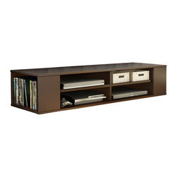 South Shore - South Shore City Life Wall Mounted Media Console in Chocolate - South Shore - TV Stands - 4419675 - This City Life modern-looking Wall Mounted Media Console in Chocolate finish will open up your living room space and give it a superb airy look. It features 4 open storage spaces including 2 adjustable shelves that can support up to 10 pounds and 2 lateral open spaces on each side for CDs DVDs and Video games. It will go perfectly under your wall-screen TV for a highly contemporary set-up! It includes a strong and tested metal hanging system to fix it on a wall (must be securely attached to a stud). Fastening device for hanging TV on wall not included. Comes with a hole for easy convenient wire management. Manufactured from certified Environmentally Preferred laminated particle panels. Complete assembly required by 2 adults. Tools are not included.  5-Year limited warranty.
