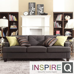Inspire Q - Inspire Q Cameron Dark Grey Tufted Sloped Arm Sofa - Make your guests feel at home with a sofa that perfectly blends comfort with style. The sloping arms, T-shaped seat cushions and espresso-stained feet are the hallmarks of the contemporary dark grey linen Cameron sofa.