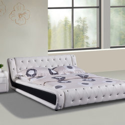 None - Dorian 2-piece White and Black Modern Bed Set - Transform your bedroom with this ultra-modern 2-piece Dorian faux leather bed set. The bold low-profile frame sports a deeply tufted fully upholstered white faux leather construction with black side panels for a contemporary contrast.