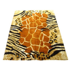 "Walk on Me - Safari Kenya Rectangle Faux Fur Rug (28""x43"") - Sublime collection of patterns for the discerning animal-skin lover  - vivid color, soft fibers, refined polish - burnished orange, gold, white and black - machine washable, hypoallergenic, non-slip"