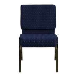 """Flash Furniture - Hercules 21"""" Extra Wide Navy Blue Dot Patterned Stacking Church Chair - This Hercules Series Church Chair will add elegance and class to any Church, Hotel, Banquet Room or Conference setting. If you are looking for a chair with comfort and style that is easy to move and stores away with ease, then look no further. This built to last chair has a 16-gauge steel frame that has been tested to hold 800 lbs. This church chair features double support bracing, ganging clamps, a cushion that graduates to a 5 in.  thick waterfall edge and plastic floor glides to protect non-carpeted floors. Our church chair is manufactured by one of the most reputable stack chair manufacturers in the industry, you can be assured of the quality of this chair offered to you."""