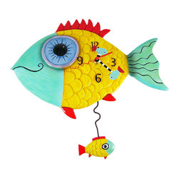 Allen Designs - Allen Designs `Wide Eyed Fishy` Pendulum Wall Clock Fish - This whimsical fish pendulum clock is called `Wide-Eyed Fishy` and is by Allen Designs. Made of cast resin, this bright fish sits above a smaller fish, which is swinging back and forth on the pendulum. The clock is hand-painted and coated in polyurethane to keep the colors bright and give it a glossy look. It measures 12 1/2 inches high, including the pendulum, and is 13 1/2 inches wide. It`s a must-have for fish lovers.
