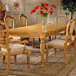 "Hillsdale - Wilshire Wood Rectangle Dining Table w Leaf & - This classic dining table conjures images of a wealthy southern home enjoying a spread of perfectly prepared food. Antique pine finish and carved solid wood pilasters give this table an antique delicacy, with beautiful modern finishing. Inner leaf is removable to fit the family perfectly for dinner, and then expand for entertaining. Complete your dining room with this elegant dining table. Time and again, you will be pleasantly surprised by this beautiful antique piece of furniture. * For residential use. Give your dining room the look of an antique heirloom piece with this stunning dining room table.. The table is finished in an antique pine color and features a leaf to allow you to expand it when you have company.. The legs features delicate details to add prestige to this piece.. Rectangle dining table w leaf. Antique pine finish. Leaf Closed: 30H x 72W x 44D. Leaf Open 24"": 30H x 96W x 44D"