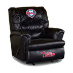 Imperial International - Philadelphia Phillies MLB Big Daddy Leather Recliner - Check out this AWESOME Big Daddy Leather Recliner. It's made especially for the Big and Tall Fan, and is incredibly comfortable. It has a very contemporary design featuring black leather all over the recliner. It will comfortably support up to 350 pounds for many years to come. Each team logo is embroidered and sewn on the center headrest and footrest. This is a true statement piece that is perfect for your Man Cave, Game Room, basement or garage.