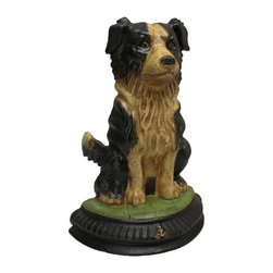 EttansPalace - Guardian Dog Die-Cast Iron Bookend - Quality foundry cast iron collectible. Instead of guarding your livestock, man's best friend becomes a loyal guardian doorstop or bookend to contain your library! Our collectible Border Collie is cast in heavyweight foundry iron that's hand-painted and finished with an faux aged patina. Our loyal canine makes a great gift for any dog lover!