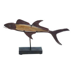 """Benzara - Attractive Styled Brown Polished Metal Wood Fish Decor - Are you fanatical about fishes and wish to showcase your love for fish in a materialistic way? Bring home this Metal Wood Fish Decor that will be a great addition to your kitchen space. Polished in brown color palette this Metal Wood Fish Decor will blend with all kinds of interiors. Made of quality wood and metal this Metal Wood Fish Decor will last for long. Easy to clean and maintain this Metal Wood Fish Decor can be added to your showcase, living space, on a dark table top else a place of your choice.Guests paying a visit to your place will be surprised to check out this wonderful styled Metal Wood Fish Decor. You can also gift Metal Wood Fish Decor to your dear ones. Metal Wood Fish Decor measures 18 inches (W) x3 inches (L) x10 inches (H); Brown color palette; Made of quality metal and wood; Dimensions: 6""""L x 3""""W x 16""""H"""