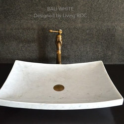 "WHITE MARBLE BATHROOM VESSEL SINK 23""x16""-BALI WHITE - Reference: BB504EW-US"
