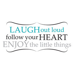 "WallPops - Laugh Out Loud Wall Quote Decals - LOL! We have heard that laughter is the best medicine! If that is true then this wall quote is the perfect prescription for happiness. Reading ""Laugh out loud; Follow your heart; Enjoy the Little things"", these inspirational words for the wall are attractively rendered in pretty hues and are full of good advice!"