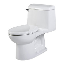 "American Standard - American Standard 2034.014.020 Champion Right Height 4 Elongated Toilet, White - American Standard 2034.014.020 Champion Right Height 4 One-Piece Elongated Right Height Toilet, White. This elongated combination toilet features a vitreous china construction, an EverClean surface, a 4"" piston action Accelorator flush valve, a 12"" Rough-in, a 2-3/8"" fully-glazed trapway, and an elongated siphon action bowl. This model measures 28-3/8"" by 18-1/4"" by 31-3/8"", and it has a low-consumption 1.6 GPF."