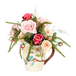 Small Pink and White Arrangement - The only thing more perfect than a rose is a rose that never fades. This exquisite pink rose bouquet is made from silk so it will always stay as pristine as the day you bring it home. Housed in a precious ceramic pitcher, this sweet and petite arrangement is as perfect as they come.