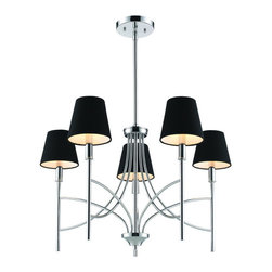 Golden Lighting - Golden Lighting 9106-5 CH-GRM 5 Light Chandelier w/ Groom Shades - A classic form with modern details makes the Taylor collection a truly transitional style