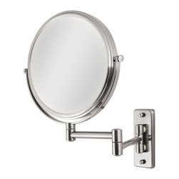 Zadro - Zadro 5X/1X Dual Sided Wall Mount Mirror In Chrome-Ovw45 - A vanity mirror is an absolute must have for any woman. Looking your best is easy when you have a magnified vanity mirror at your side. It makes doing your hair and make-up easier than ever before. The 5X/1X Wall Mirror features a dual-sided, premium quality mirror with two magnifications. On one side, a 5x magnification mirror allows you to see up-close and in detail, allowing for easy make-up application. The other side features a normal, 1x magnification mirror that is great for checking hair and make-up.