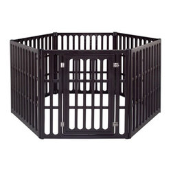 Extra Large 6-Panel Indoor/Outdoor Pet Pen in Brown
