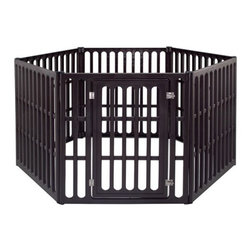 """IRIS - Extra Large 6-Panel Indoor/Outdoor Pet Pen in Brown - This indoor/outdoor pen is made of heavy-duty plastic and features double steel door latches and interlocking panels for easy assembly. When used outside, stakes may be driven into ground for extra security and stability. Features: -Constructed of heavy-duty plastic. -Interlocking panels for easy assembly. -Features double steel latches. -Suitable for indoor or outdoor use. -1 Piece Set. -Dimensions: 39.88"""" H x 62.992"""" W x 73.622"""" D."""