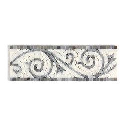 All Marble Tiles - Blue Stone - Thassos White Polished Marble Art Border 4x12 - Blue Stone - Thassos White Polished Marble Art Border 4x12