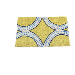Mediterranean Doormat - This eco-friendly doormat is handwoven in 100% coir. Its sophisticated design comes from a tile pattern we saw during a trip to Morocco, and its vibrant yellow hue creates a refreshing entrance for your guests. For indoors or out, it's easy to clean with just a simple vacuum.
